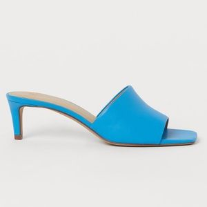 H&M Blue Faux Leather Square Toe Mule Sz 6 37